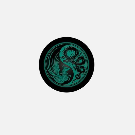 Dragon Phoenix Yin Yang Teal and Black Mini Button