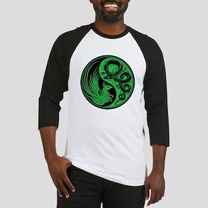Green and Black Dragon Phoenix Yin Yang Baseball J
