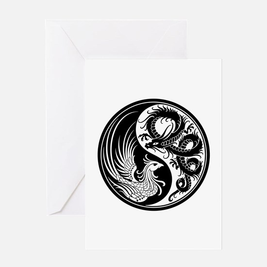 White And Black Dragon Phoenix Yin Greeting Cards