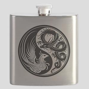 White and Black Dragon Phoenix Yin Yang Flask