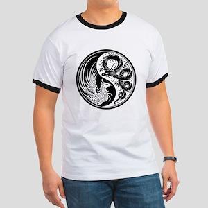 White and Black Dragon Phoenix Yin Yang T-Shirt