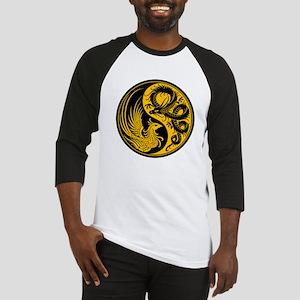 Yellow and Black Dragon Phoenix Yin Yang Baseball