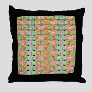 Retro Camping Throw Pillow