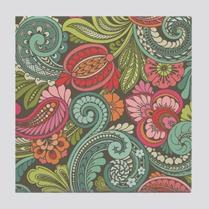 Paisley Cyngalese Tile Coaster