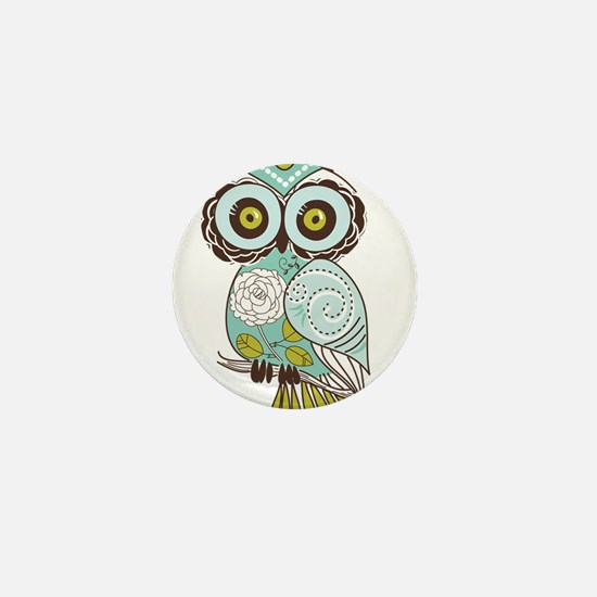 Teal Green Owl -2 Mini Button (10 pack)