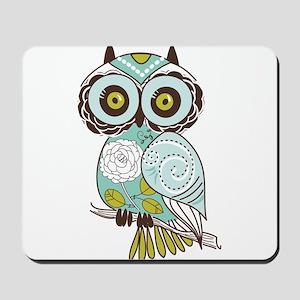Teal Green Owl -2 Mousepad