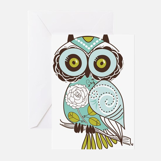 Teal Green Owl -2 Greeting Cards