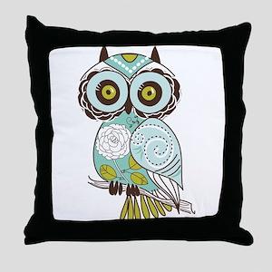 Teal Green Owl -2 Throw Pillow