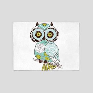 Teal Green Owl -2 5'x7'Area Rug