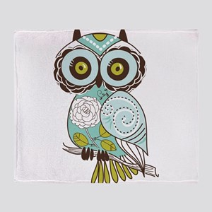 Teal Green Owl -2 Throw Blanket