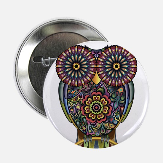 "Vibrant Owl 2.25"" Button"