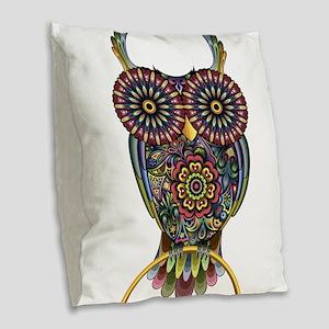 Vibrant Owl Burlap Throw Pillow