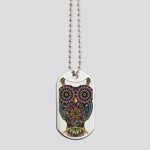 Vibrant Owl Dog Tags