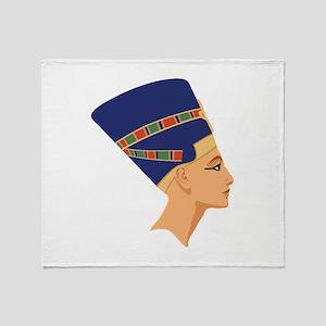 Egyptian Nefertiti Queen Throw Blanket