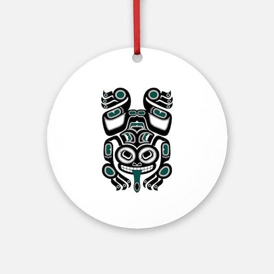 Teal Blue and Black Haida Tree Frog Ornament (Roun