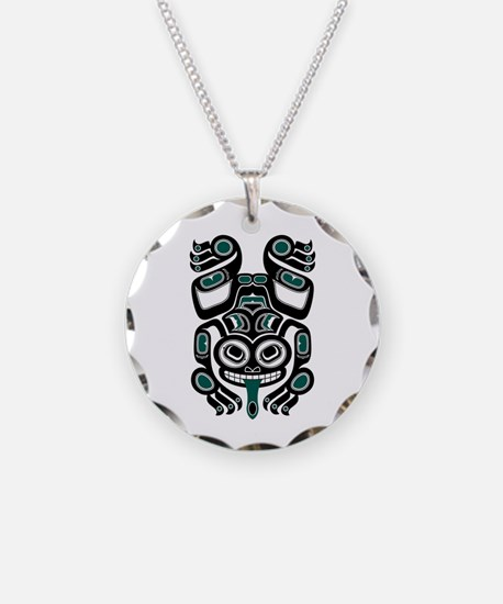 Teal Blue and Black Haida Tree Frog Necklace