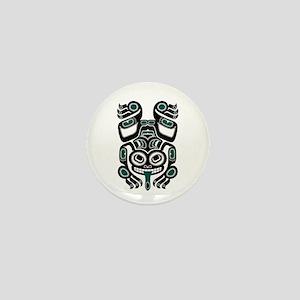 Teal Blue and Black Haida Tree Frog Mini Button