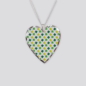 Green and White Shamrock Pattern Necklace