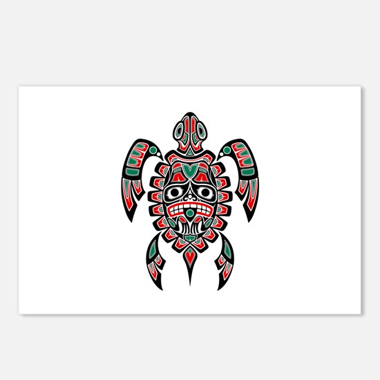 Red Green And Black Haida Postcards (package Of 8)