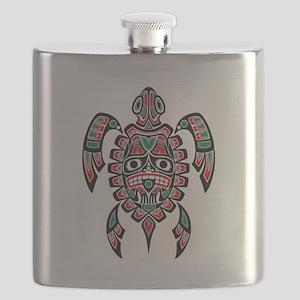 Red Green and Black Haida Sea Turtle Flask