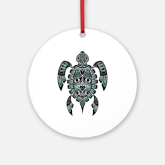 Teal Blue and Black Haida Sea Turtle Ornament (Rou