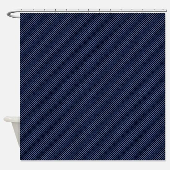 Dark Blue Thin Lines Shower Curtain