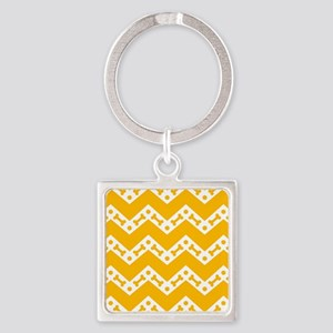 Cute Dog Bone Chevron Yellow, Teal Square Keychain
