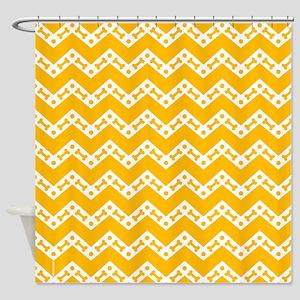 Cute Dog Bone Chevron Yellow, Teal, Shower Curtain