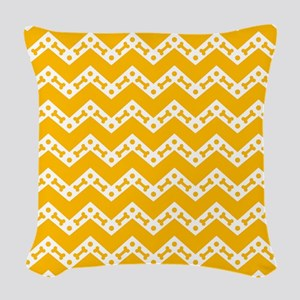 Cute Dog Bone Chevron Yellow, Woven Throw Pillow