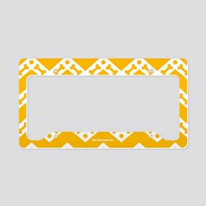 Cute Dog Bone Chevron Yellow, License Plate Holder