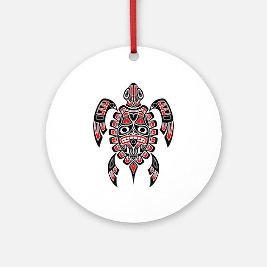 Red and Black Haida Sea Turtle Ornament (Round)