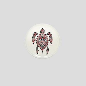 Red and Black Haida Sea Turtle Mini Button