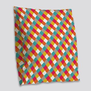 Retro Plaid Pattern Burlap Throw Pillow
