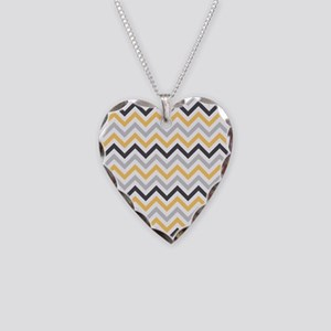 Cute Yellow and Gray Chevron Stripes Necklace