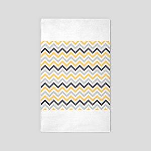 Cute Yellow and Gray Chevron Stripes 3'x5' Area Ru