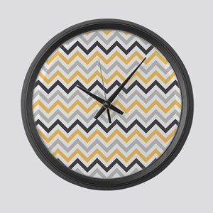Cute Yellow and Gray Chevron Stripes Large Wall Cl