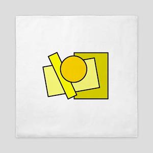 Color Squares Circle Design #2 (yellows) Queen Duv