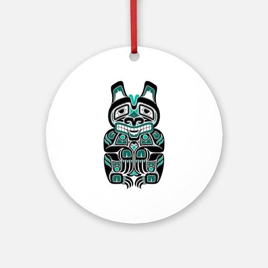 Teal Blue and Black Haida Spirit Bear Ornament (Ro