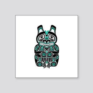 Teal Blue and Black Haida Spirit Bear Sticker
