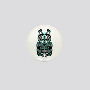 Teal Blue and Black Haida Spirit Bear Mini Button