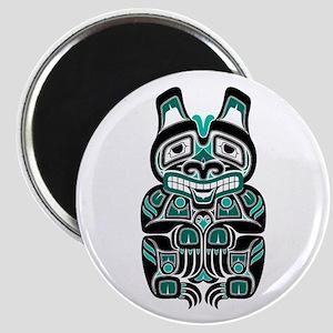 Teal Blue and Black Haida Spirit Bear Magnets