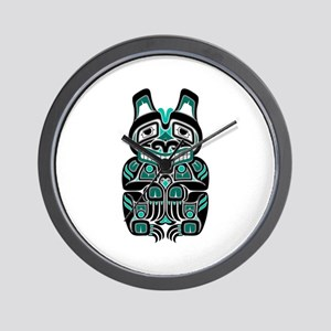 Teal Blue and Black Haida Spirit Bear Wall Clock