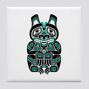 Teal Blue and Black Haida Spirit Bear Tile Coaster