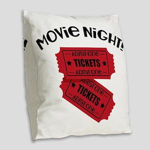 Movie Night! Burlap Throw Pillow