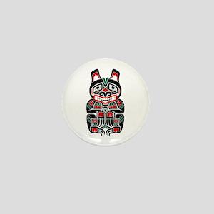 Red and Black Haida Spirit Bear Mini Button