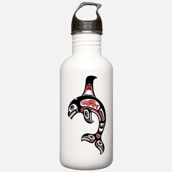 Red and Black Haida Spirit Killer Whale Water Bott
