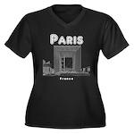 Paris Women's Plus Size V-Neck Dark T-Shirt