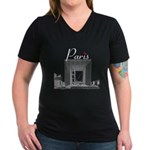 Paris Women's V-Neck Dark T-Shirt