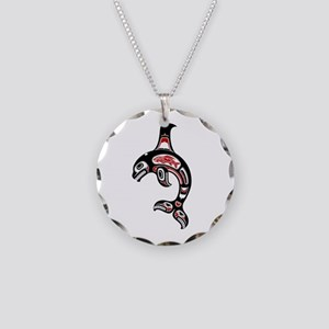 Red and Black Haida Spirit Killer Whale Necklace C