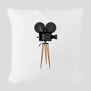 Film Reels Camera Movie Woven Throw Pillow